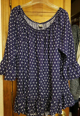 EXC! Women PLUS 2X Top/Pullover;Peasant Gathered Stretch Neck;Super Cute! Rayon