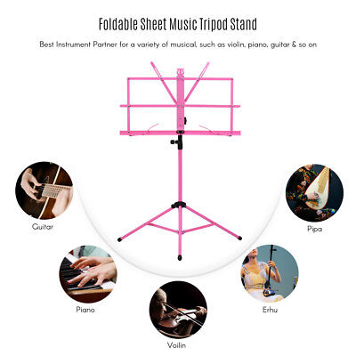 Adjustable Folding Sheet Music Tripod Stand Holder Heavy Duty Pink+Case Hot W1P3