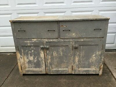 Antique Pine Cabinet Cupboard Jelly, 2 Large Drawers, 3 Cupboard Doors Primitive