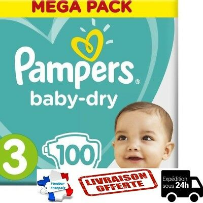 LOT DE 100 COUCHES PAMPERS BABY-DRY TAILLE 3 MEGA PACK 6-10 kg NEUVE