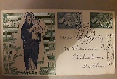 Ireland Irish Eire Rare Fdc First Day Cover 1954 The Marian Year