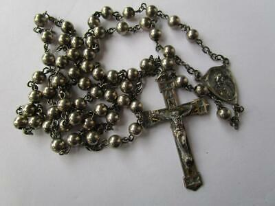 Vintage All Solid Sterling Silver Rosary Beads Crucifix Creed Style 25.1 grams