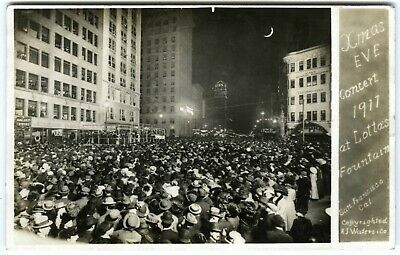 1911 RPPC SAN FRANCISCO XMAS EVE CONCERT CROWD on MARKET ST.~REAL PHOTO POSTCARD