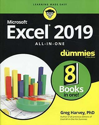 Excel 2019 All-in-One For Dummies by Harvey, Greg, NEW Book, (Paperback) FREE &