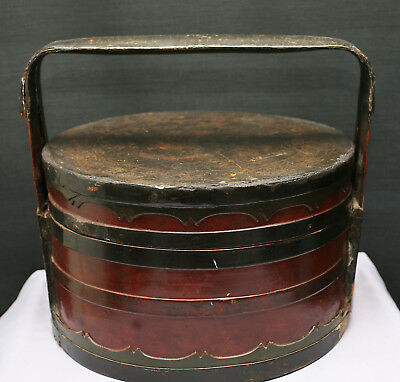 Terrific Very Old Chinese Lacquered Bamboo & Wood Wedding Basket Possibly 1700s