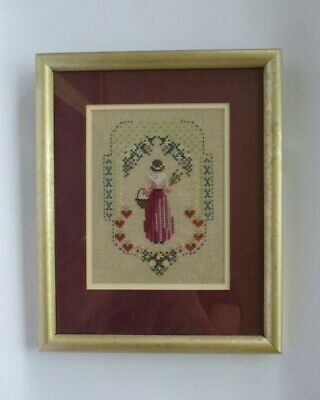Stitched Artwork Painting Glass Framed Floral Garden Woman Yarn Embroidered