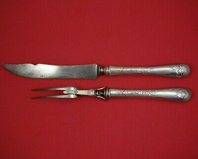 Brite-Cut by Wallace Sterling Silver Roast Carving Set 2pc Fork Knife HH WS