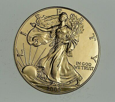 2000 24 Kt Gold Plated American Silver Eagle - Beautiful Coin! 1 Oz .999 *898