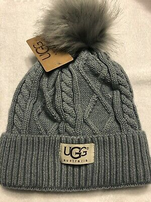 070d9d8ccfe Grey UGG Womens Solid Ribbed Fleece Lined Winter Beanie Hat With Pom Pom