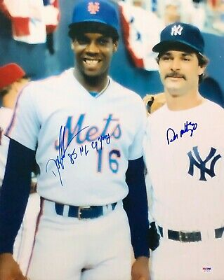 Don Mattingly & Dwight 'Doc' Gooden Signed 16x20 Photo *Yankees *Mets PSA W77876