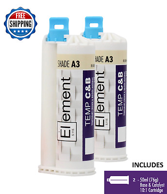 (2) ELEMENT Temporary Crown and Bridge Material Cartridges Dental SHADE A3