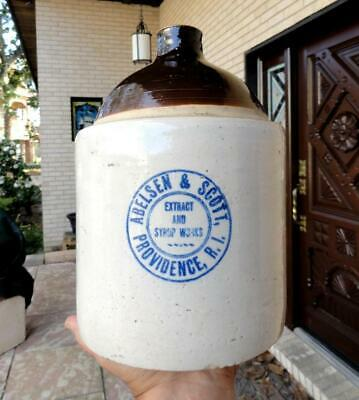 ABELSEN & SCOTT EXTRACT & SYRUP WORKS Stoneware Jug PROVIDENCE, RI late 1800's+