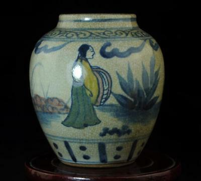 Chinese Old Hand-Made Cracked Glaze Porcelain Hand Painted People Pot B02
