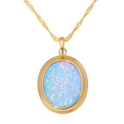 "Blue Fire Opal Yellow Gold Plated Women Jewelry Necklace Pendant 1 3/8"" OD6696"