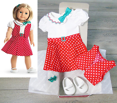 NEW American Girl Doll KIT REPORTER DRESS Outfit Green Barrette White Shoes BOX!