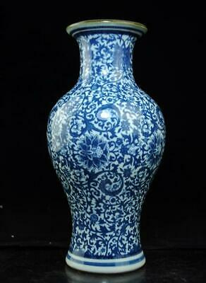 Chinese old hand-made Blue and White porcelain vase /qianlong mark c01