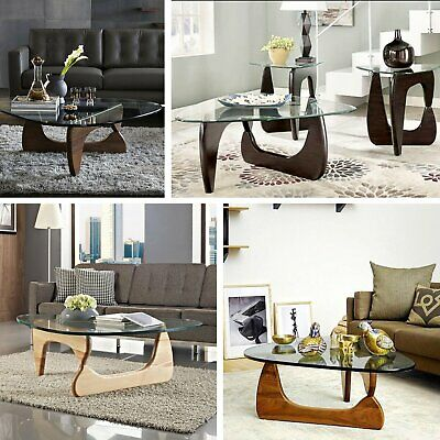 EMod Noguchi Style Coffee Table Reproduction Style Replica Glass Top Wood  Walnut
