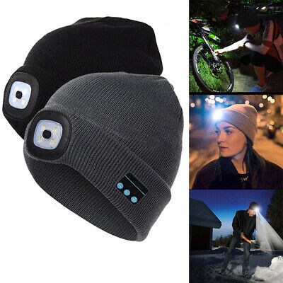 Bluetooth Knit Cap With LED Light Beanie Hat Sports Running Hiking Outdoor