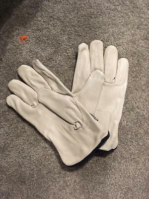 3 pairs Mens White/Beige industrial Winter leather Gloves Thinsulate Large