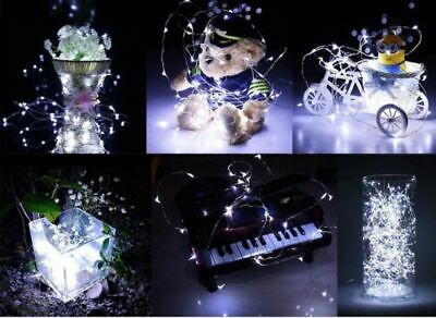 1/6X 20 LED Battery Micro Rice Wire Copper Fairy String White Lights Party 2M