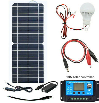 12V 10W Solar Panel Kits+LED Lamp+10A Controller for RV Car Camping Boat Caravan