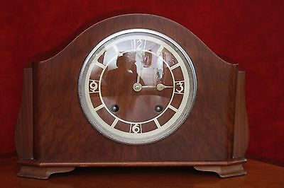 Vintage Art Deco 'Garrard' Oak Mantel 8 Day Clock with Chimes