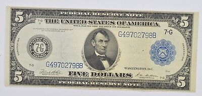 1914 $5 Blue Seal Federal Reserve of Chicago Large Size Note - Fr. 871a *3355