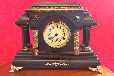 "Antique American ""New Haven"" 8 Day Wooden Case Striking Mantel Clock"