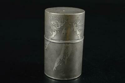 G7419: Japan XF Old Tin Pine sculpture TEA CADDY Chaire Container Tea Ceremony