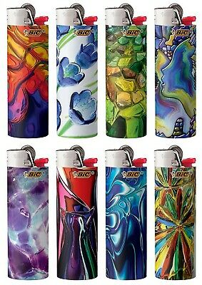 BIC Special Edition Blown Glass Series Lighters Set of 8 Lighters New Designs!