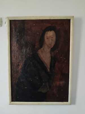 Old Original oil painting canvas Modigliani style 20th century Picasso period