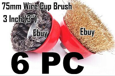 "6PC 75mm 3"" Steel Wire Wheel Knotted Cup Brush Crimp Cup Wheel For Angle Grinder"