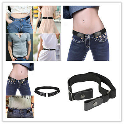 Women Buckle-free Elastic Band Invisible Waist Belt for Jeans No Bulge Hassle QS