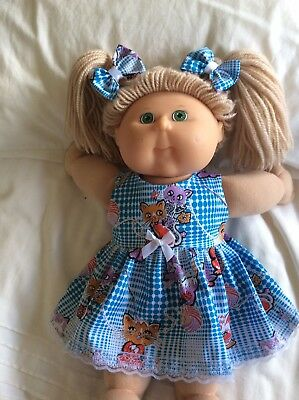 "DOLLS CLOTHES - DRESS & BOWS to fit 16"" CABBAGE PATCH ~ Blue Check / Kittens"