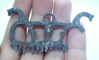 Medieval Viking Bronze Comb With Dragon Heads - 800/1000 Ad