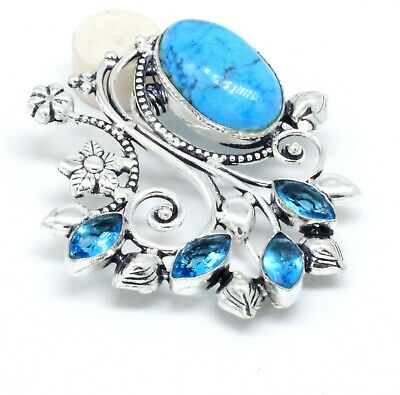 Blue Turquoise & Topaz Gemstone 925 Silver Jewellery Beautiful Brooches Size 3