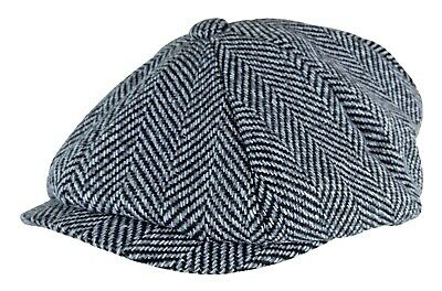 Mens Herringbone 8 Panel Thinsulate Lined Winter Wool Gatsby Newsboy Hat Cap
