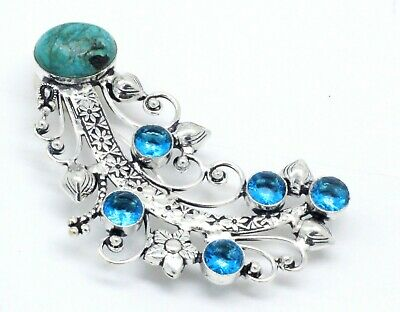 Multi Turquoise & Topaz Gemstone 925 Silver Jewellery Beautiful Brooches Size 4