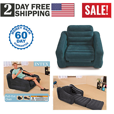 Chair Bed Ocean Blue Folding Convertible Flip Game Sleeper