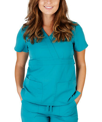 WorkWear Scrub Top Size 16 Teal Green Surplice Tunic