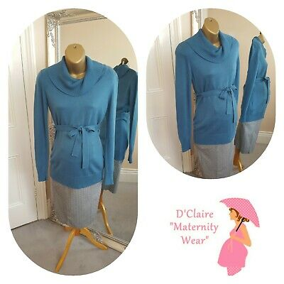 8 10 Designer Jojo Maman Bebe Teal Roll Neck Belted Maternity Sweater See Others