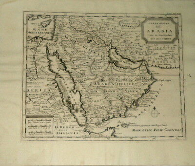Arabia Cyprus M East Oman Muscat Tirion Abrizzi  Antique Map 1738