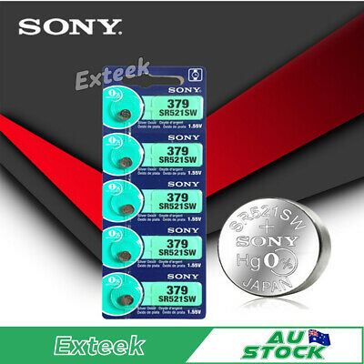 SONY SR521SW 379 1.55v Button Coin Cell Silver Oxide Battery