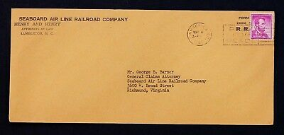 US Stamp Sc# 1036 SAL Perfin S29 Matching Commercial Cover Seaboard Air Line RR