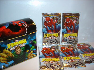 2013 Trading Card Packs New + Sealed Tin of Marvel Spiderman Heroes & Villains