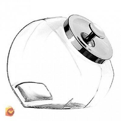 Hard Candy Jar Egg Cookie Buffet Large Glass Round Storage Kitchen Chrome Cover