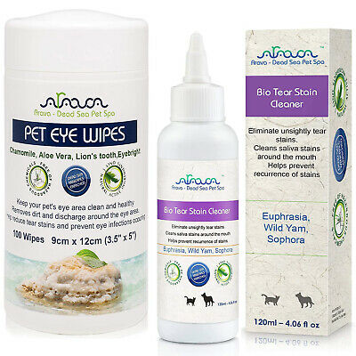 Natural Tear Stains Remover for Small Large Dogs Puppies Cats & Pet Eye Wipes