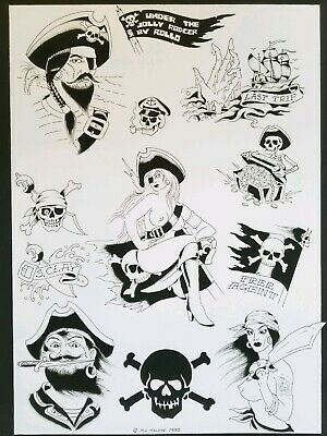 mike rollo banks malone 82 vintage tattoo flash pirate jolly roger 16x20 reprint