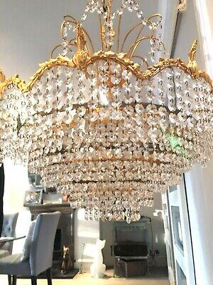large antique brass and cut glass crystal drops chandelier waterfall