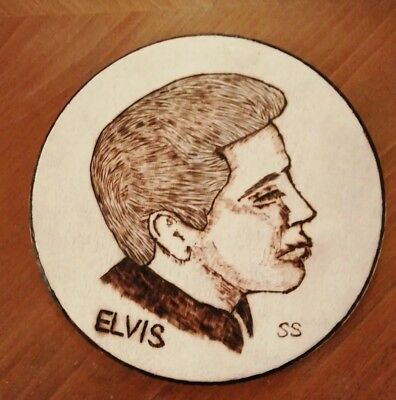 """Elvis Presley"" Wood burnt art piece"